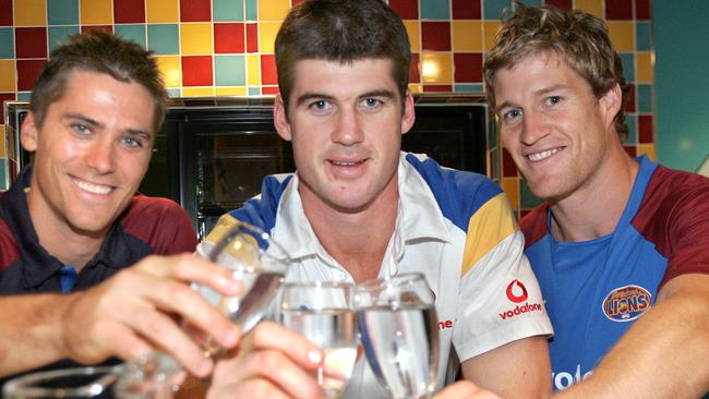 Jonathan Brown with Brisbane mates Simon Black and Luke Power doing the right thing having a glass of water during the season.