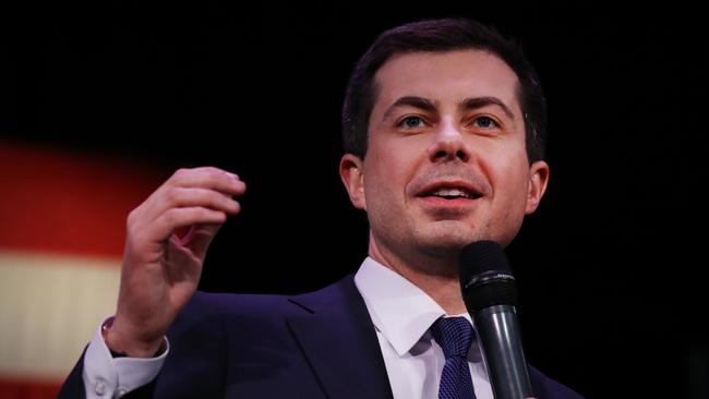 Pete Buttigieg gave a speech declaring victory in the Iowa Caucas before the results were released. Picture: Spencer Platt/Getty Images/AFP