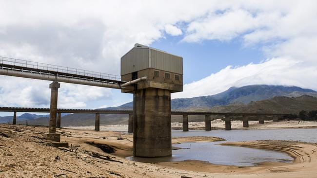 Cape Town's Theewaterskloof Dam, that serves four million people, has run dry. Picture: AP Photo