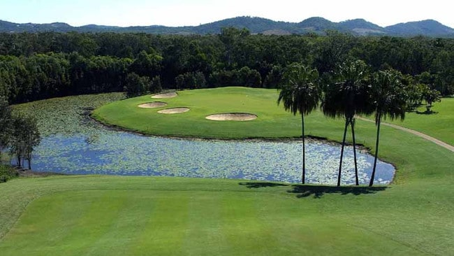 The golf course at Capricorn Resort is still in operation, while the rest of the property has been shuttered.