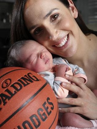 Basketballer Laura Hodges in the weeks following daughter Ava's birth. Picture: Sarah Reed
