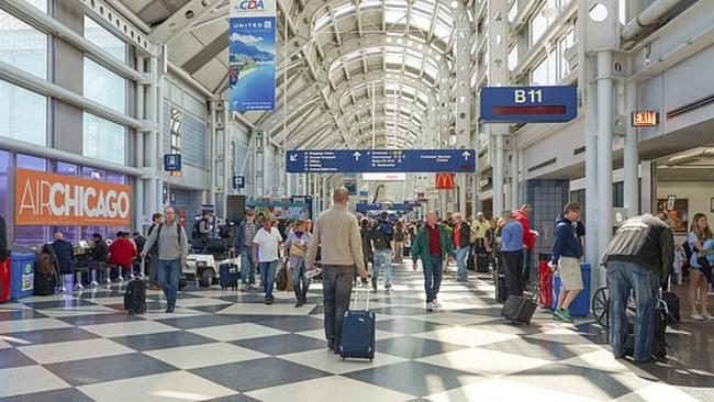 Chicago's O'Hare International Airport where Marilyn Hartman attempted to board a plane without travel documents. Picture: Supplied