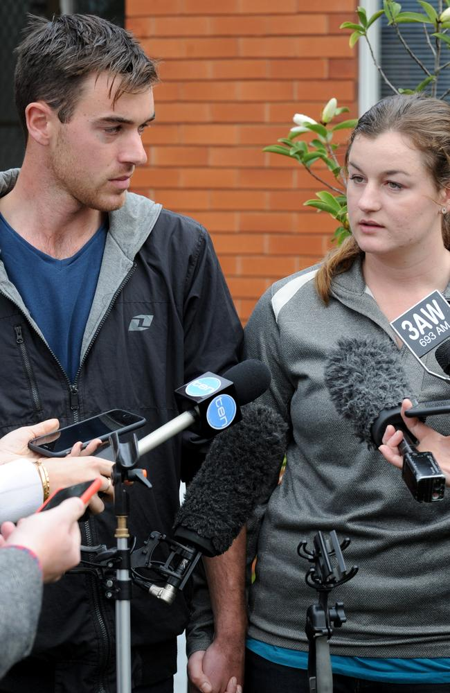Close-knit: Siblings Ella and Mitchell Tromp address the media at Monbulk Police Station after the disappearance of their parents. Picture: Andrew Henshaw