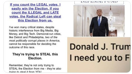 So-called 'Trump campaign' emails make 'urgent' demands for money to fight 'Democrats' plan to steal the election'.