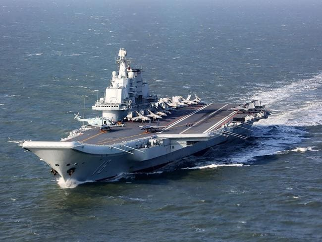 The Liaoning, China's only aircraft carrier, sailing during military drills in the Pacific.