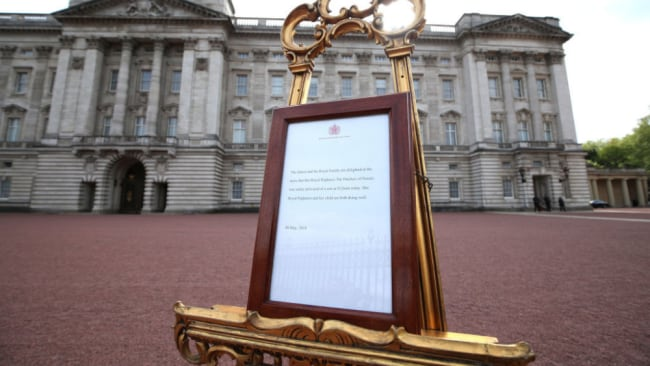 Buckingham Palace announced the birth in royal tradition. Source: Getty Images