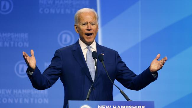 Democratic presidential candidate former Vice President Joe Biden at the New Hampshire state Democratic Party convention, Saturday, September 7, 2019, in Manchester, NH. Picture: AP/Robert F. Bukaty.