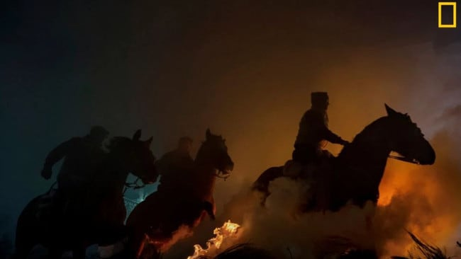 Every year on the feast of Saint Anthony the ceremony of the purification of animals called Las Luminarias is celebrated in Spain. In the province of Avila, horses and horsemen jump over bonfires in the ritual that has been maintained since the 18th century. Picture: Jose Antonio Zamora /National Geographic Travel Photo Contest
