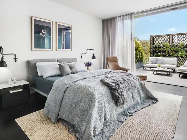 The master bedroom spans the entire top level of the four-level townhouse. Picture: The Style School