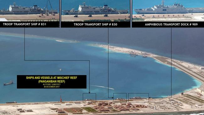 Photos show Beijing's militarisation of South China Sea in new detail. Here Chinese naval transports are docked at Mischief Reef. Picture: Inquirer.net/Philippine Daily Inquirer