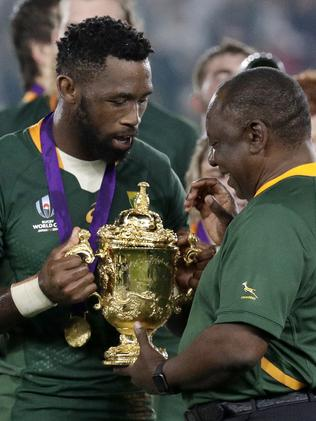 Kolisi and South African president Cyril Ramaphosa in 2019.