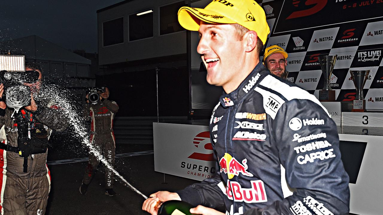 Jamie Whincup celebrates his win in Townsville on Saturday.