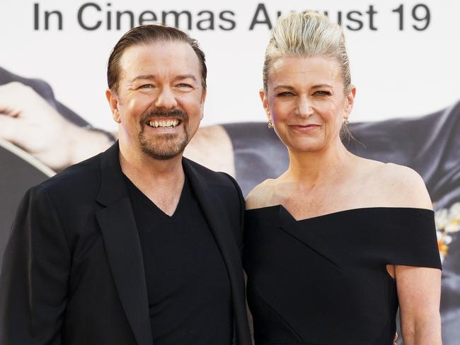Ricky Gervais and partner, Jane Fallon. Picture: Tristan Fewings/Getty Images
