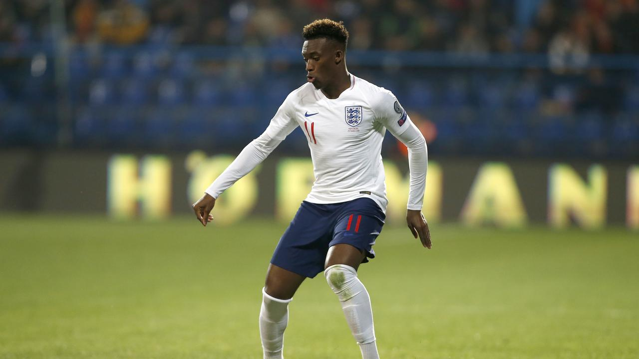 England's Callum Hudson-Odoi dribbles with the ball in his first match for England