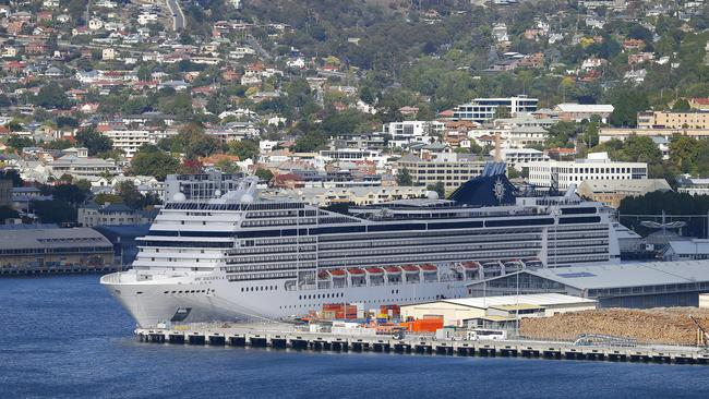 The MSC Magnifica berthed in Hobart on Saturday but crew and passengers are not allowed to disembark. Picture: Matt Thompson.