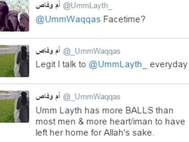 Recruiting for ISIS ... An example of the conversations @_UmmWaqqas has had on Twitter with other women wanting to join the terror group. Picture: Twitter, Channel 4 News, @_UmmWaqqas