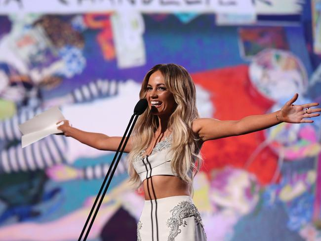 Looking good...Samantha Jade on stage at the ARIA Awards. Picture: Brendon Thorne/Getty Images