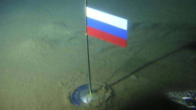 The Russian flag which was planted on the Arctic Ocean floor in 2007 as part of Russia's 'symbolic claim' of the disputed region. The planting angered Canada. Picture: Association of Russian Polar Explorers / AP