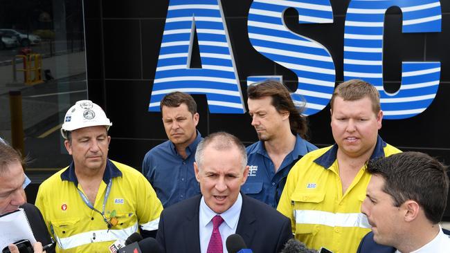 Premier Jay Weatherill speaks to the media outside ASC in Osborne. Picture: Tom Huntley