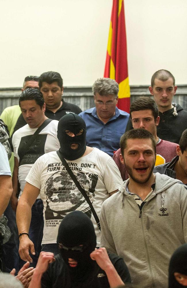 Masked man were among the demonstrators that stormed the parliament building.