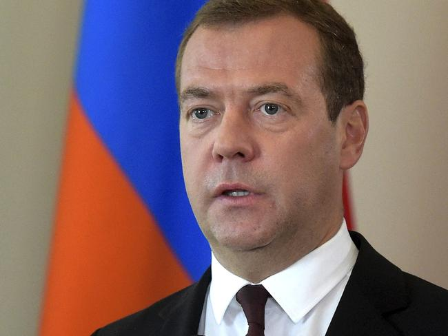 Russian Prime Minister Dmitry Medvedev said Russia could break diplomatic ties with Ukraine over reported security incidents in Crimea. Picture: AP.