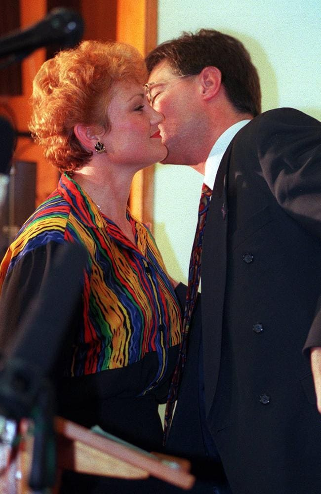 Pauline Hanson in 1998 (above) with David Oldfield, one of the list of men she has cited as abandoning her.
