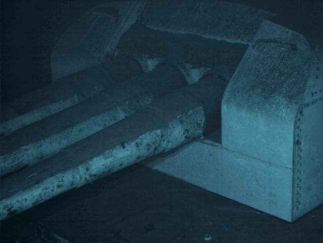 One of the USS Indianapolis's main gun turrets, photographed via robotic submersible deployed from the research vessel Petrel. Picture: Twitter / Paul Allen
