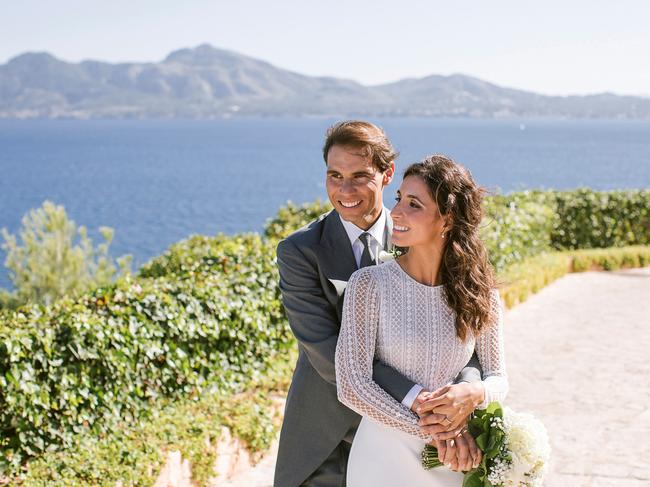 Rafa Nadal poses with wife Xisca Perello for their wedding portraits after they were married in 2019 in Mallorca, Spain, where they also own $260m mansion. (Photo by Fundacion Rafa Nadal via Getty Images)