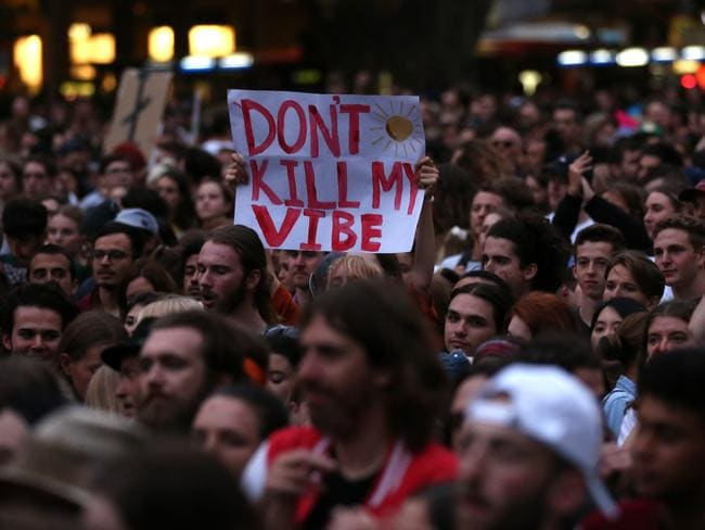 Thousands gathered in Sydney's Hyde Park for the Don't Kill Live Music rally to protest the NSW Government's live music regulations.