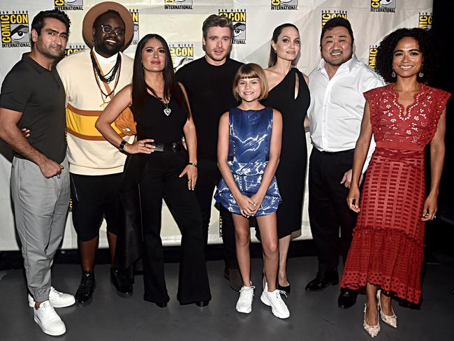 Kumail Nanjiani, Brian Tyree Henry, Salma Hayek, Richard Madden, Lia McHugh, Angelina Jolie, Don Lee and Lauren Ridloff of Marvel Studios' 'The Eternals'. Picture: Alberto E. Rodriguez/Getty Images for Disney
