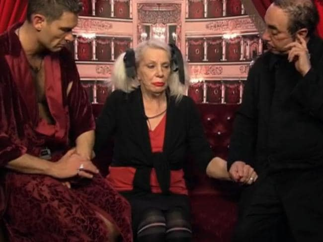 TV appearance ... Angie Bowie is comforted by John Partridge and David Gest after being told her ex-husband David Bowie had passed away. Picture: Splash
