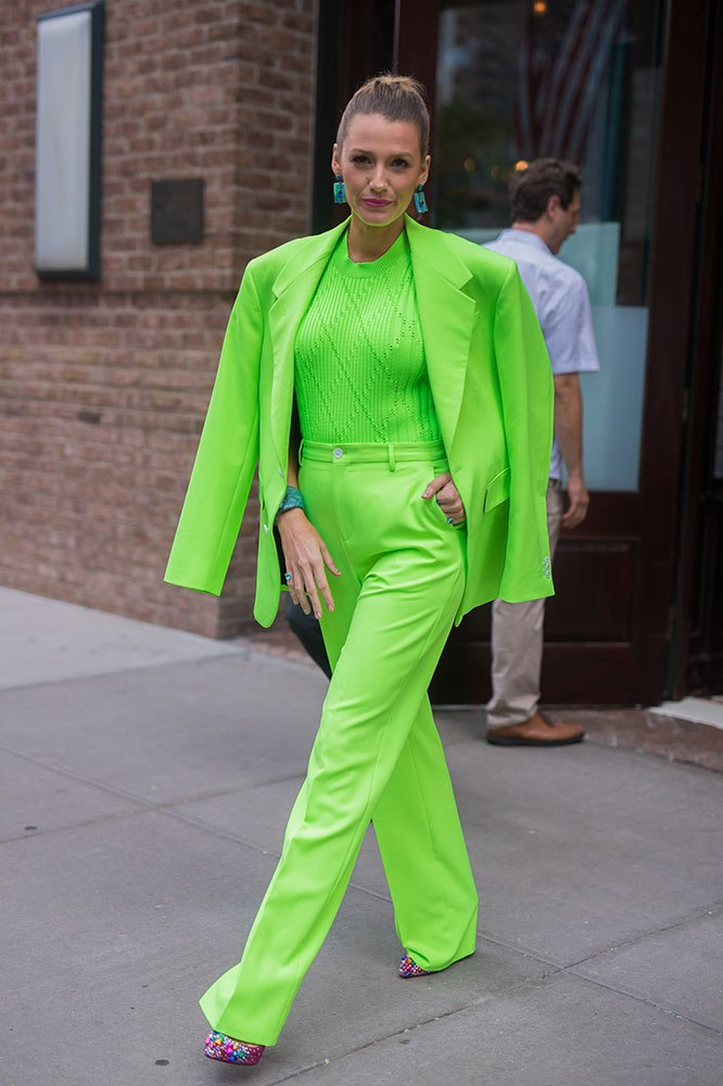 Blake Lively wears head-to-toe neon in New York in 2018. Image credit: Getty Images