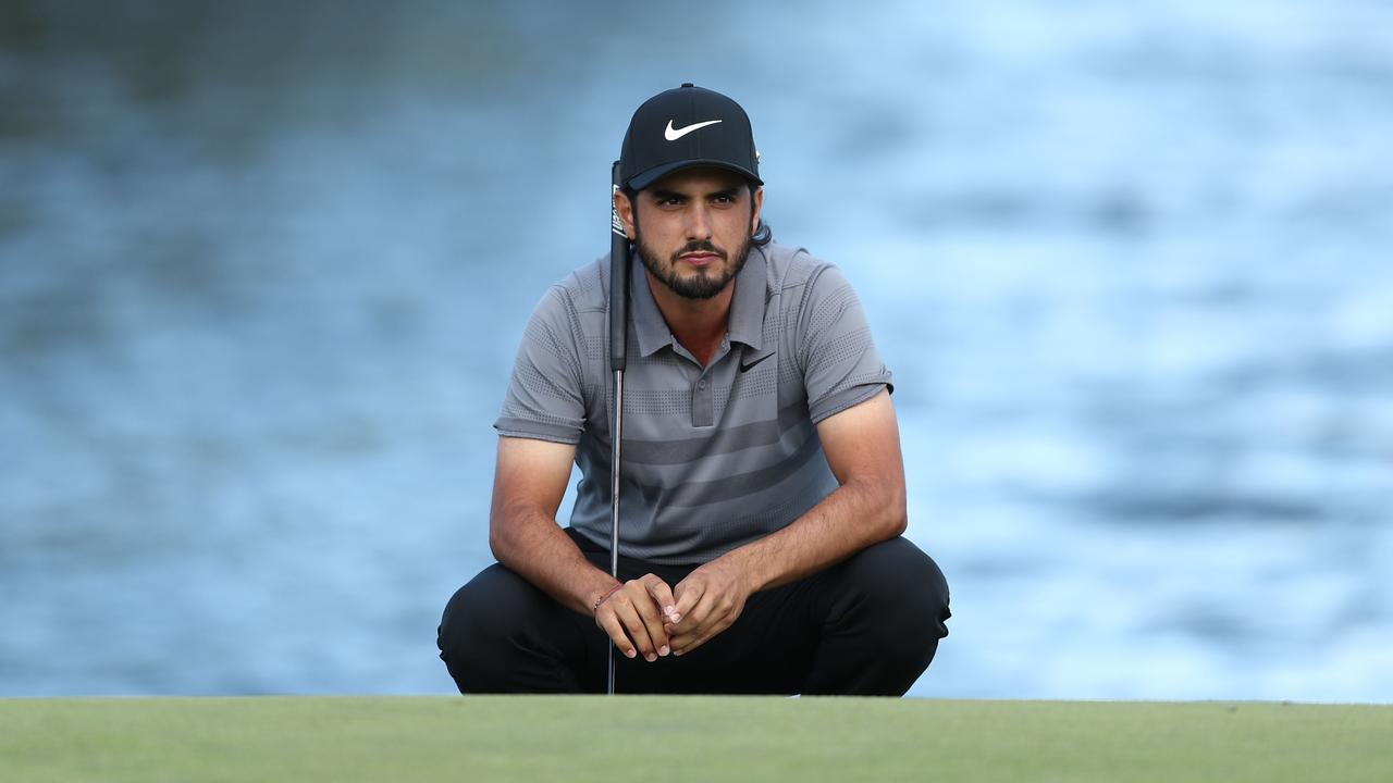 Abraham Ancer of Mexico considers his next shot during the Australian Golf Open. Picture: Getty Images