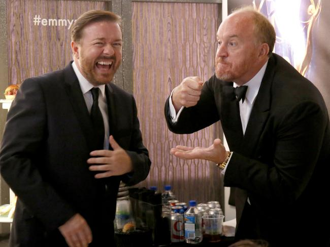 Ricky Gervais and Louis C.K. backstage at the 66th Primetime Emmy Awards