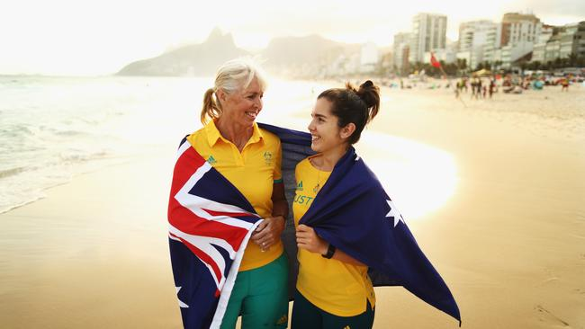 Mary Hanna, Equestrian Dressage competitor and the oldest member of the Australian Olympic Team with Aislin Jones, Shooter and the youngest member of the Australian Olympic Team on Ipanema Beach.