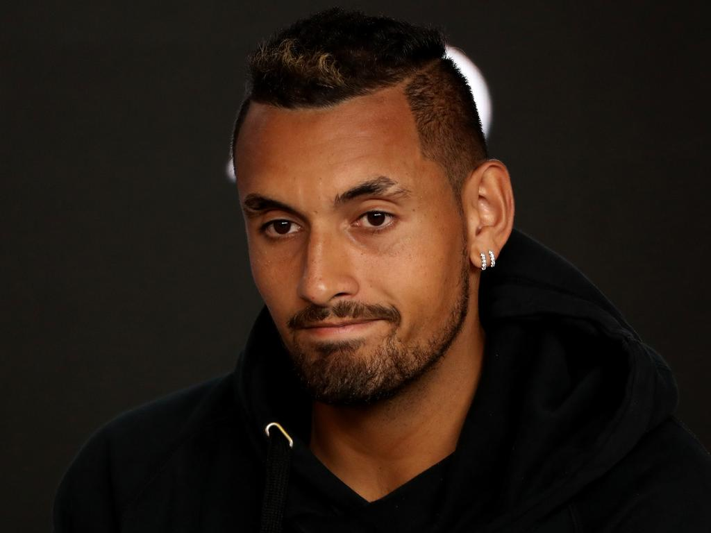 Nick Kyrgios speaks to the media at a press conference during day two of the Australian Open tennis tournament in Melbourne, Tuesday, January 15, 2019.(AAP Image/David Crosling) NO ARCHIVING, EDITORIAL USE ONLY