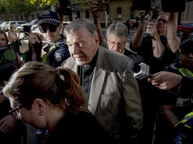 Cardinal George Pell arrives at the County Court in Melbourne. Picture: AP Photo/Andy Brownbill, File)