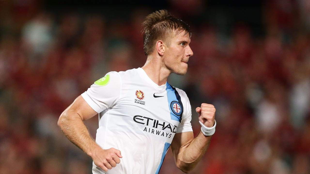 Erik Paartalu of Melbourne City celebrates scoring a goal