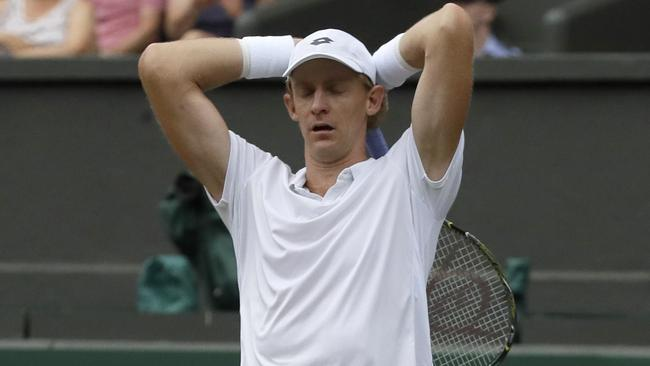 Kevin Anderson can't quite believe he has emerged victorious. Picture: AP.