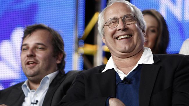 Chevy Chase with Dan Harmon in 2009. Picture: Matt Sayles