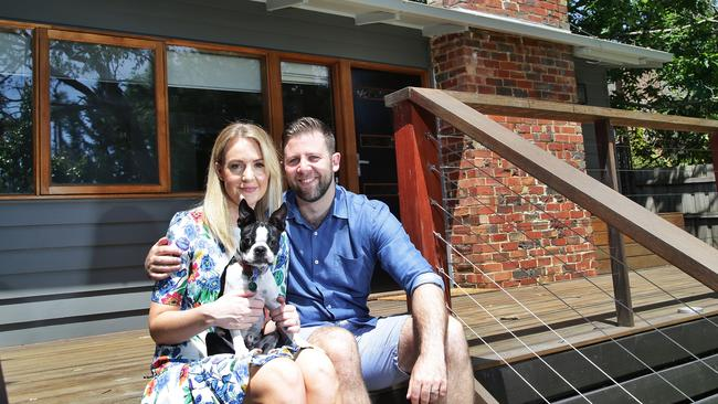 Oliver Hill, 33, and Danielle Mansfield, 32, outside their new Croydon home. Picture: Hamish Blair