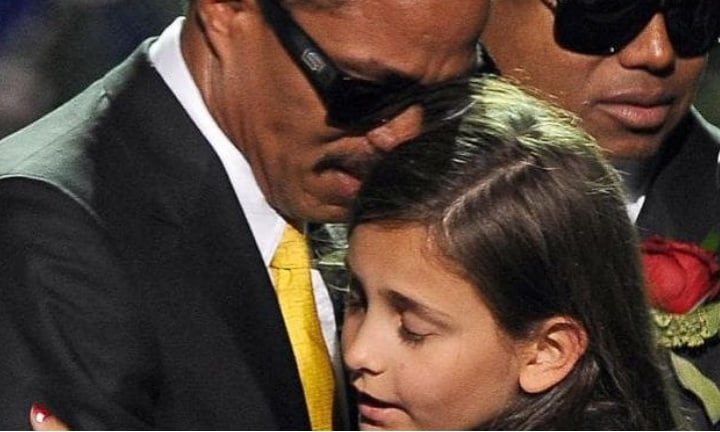 Michael Jackson's daughter Paris is comforted by her uncle Marlon Jackson at a memorial service for the music legend in 2009. Picture: AFPSource:AFP