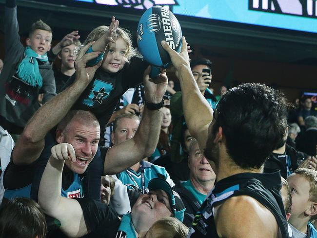 Chad Wingard and Port Adelaide are a hit with their Adelaide Oval fans. Picture: Sarah Reed