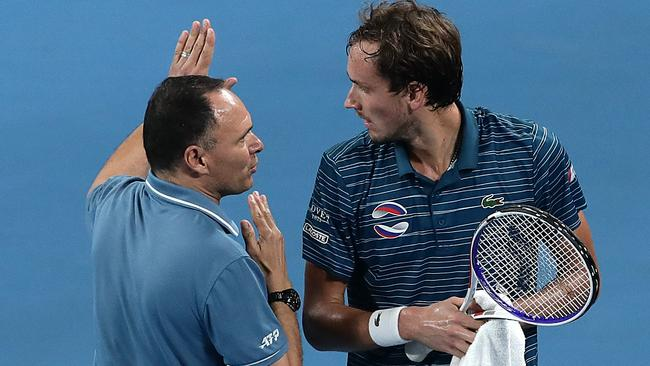 Daniil Medvedev talks to Mohamed Lahyani after being given his code violation. Picture: Getty Images
