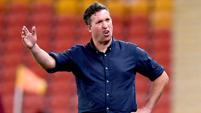 Robbie Fowler tries to lift a new look Brisbane outfit. Picture: Bradley Kanaris/Getty Images