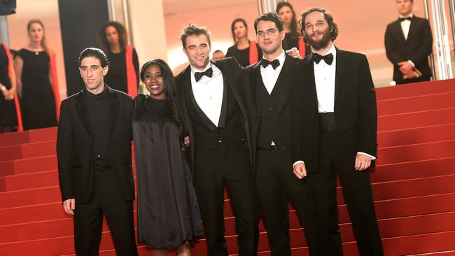 "Buddy Duress, Taliah Webster, Robert Pattinson, Ben Safdie and Joshua Safdie attend the ""Good Time"" screening during the 70th annual Cannes Film Festival."