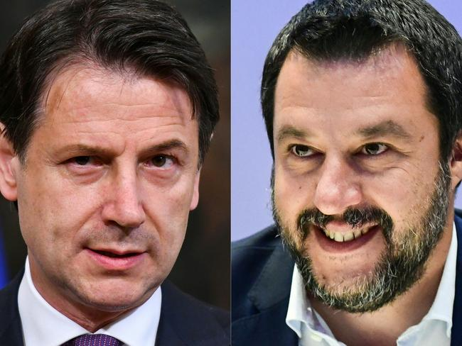 "Mr Conte (L) has been described as a ""rare pearl"" while Mr Salvini has been described as an ""untrustworthy traitor."" Picture: AFP"