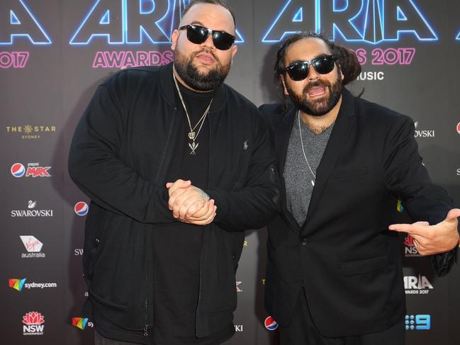 Adam Briggs and Daniel Rankine of A.B. Original are the first hip hop artists to win Songwriter of the Year. Picture: Lisa Maree Williams/Getty Images