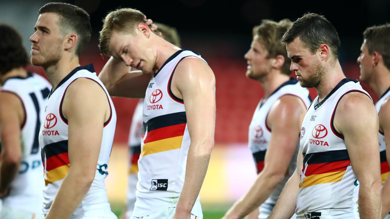 Adelaide was beaten badly by 2019 wooden spooners Gold Coast on Sunday. (Photo by Jono Searle/AFL Photos/via Getty Images )