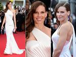 Hilary Swank walks the red carpet at the Cannes International Film Festival 2014. Pictures: Getty